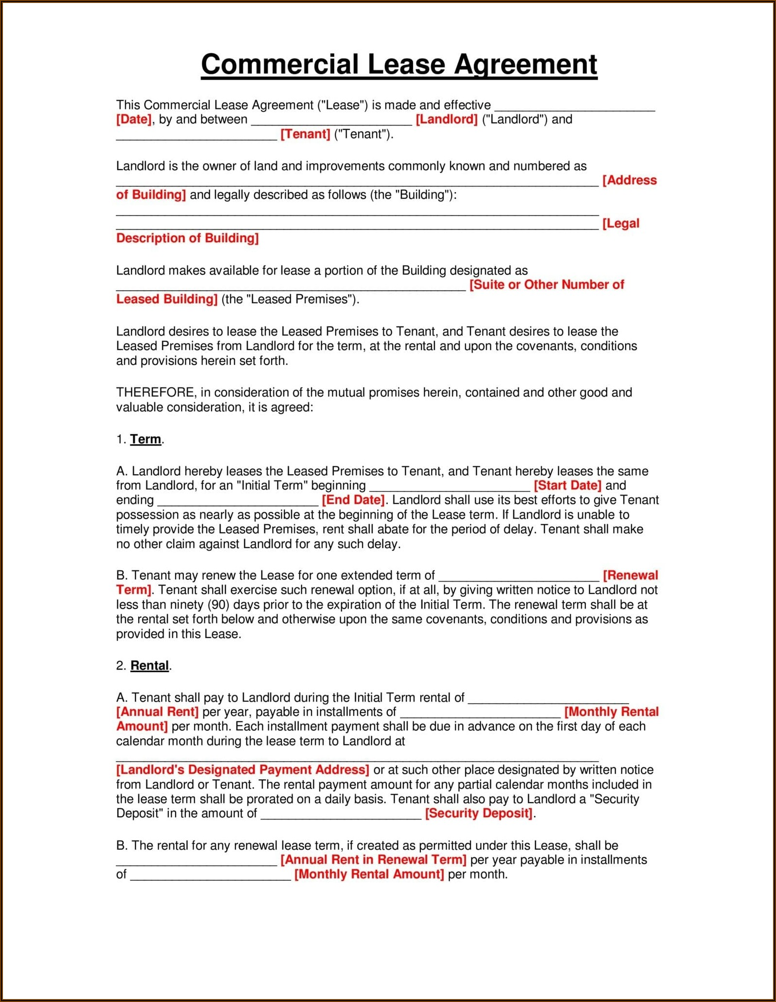Texas Free Rental Agreement Forms
