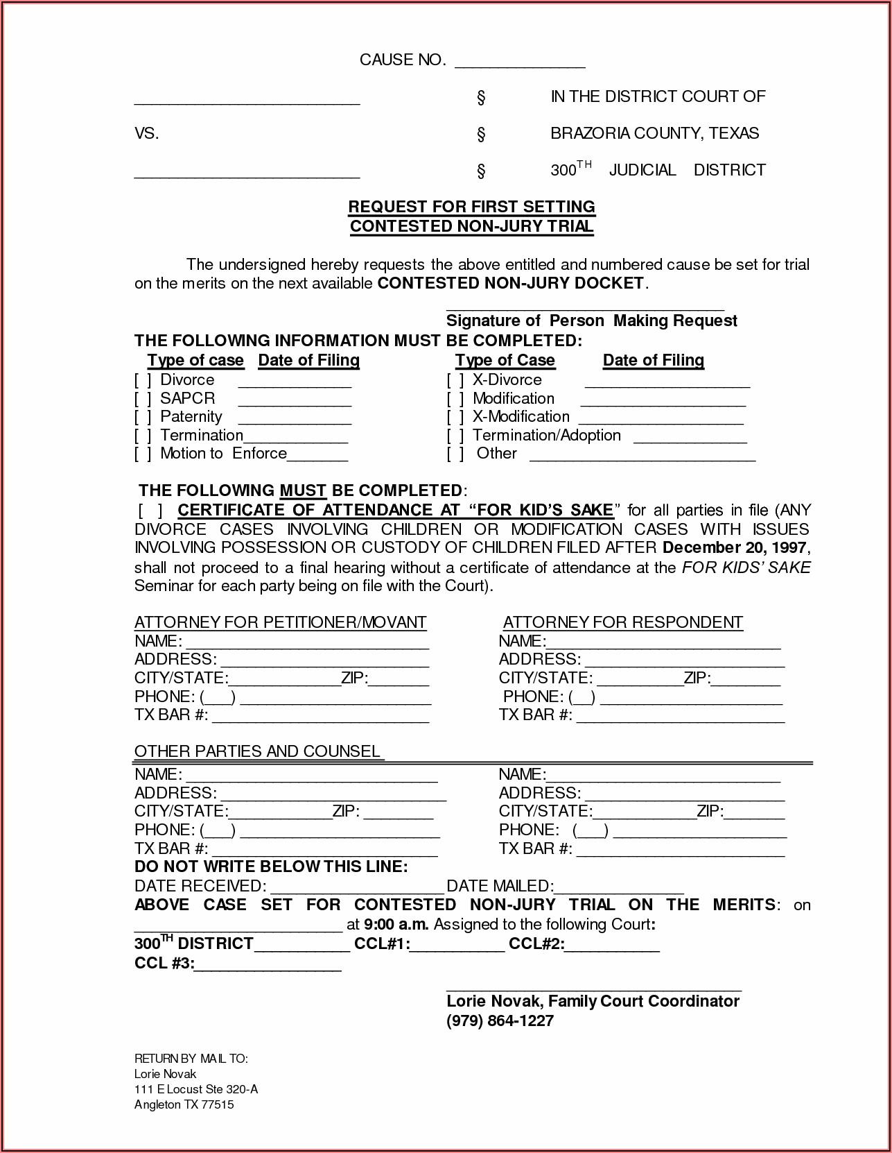Texas Motion To Enforce Divorce Decree Form