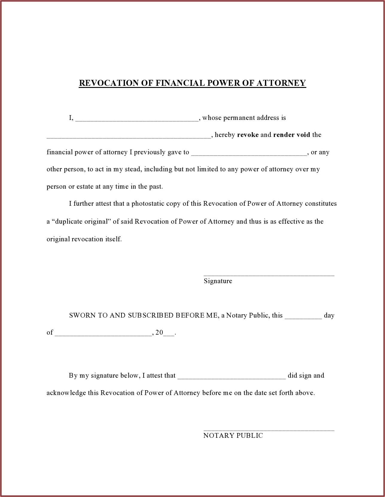 Texas Revoke Power Of Attorney Form