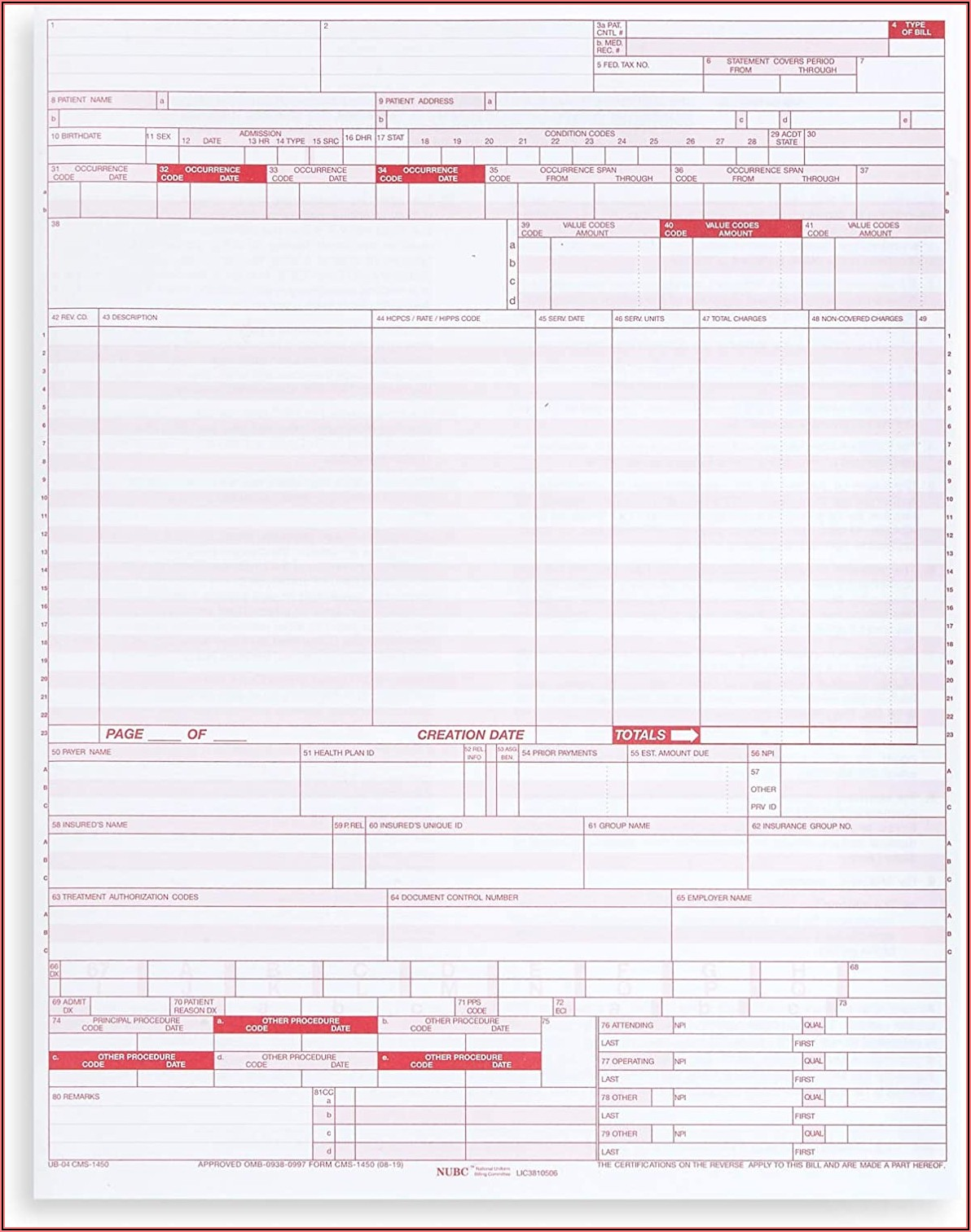 The Cms 1500 And Ub 04 Claim Forms Are Required To Be Outlined In Red To
