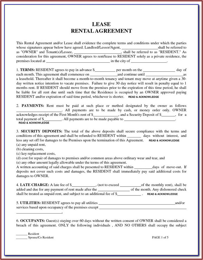 Trec Forms Lease Agreement