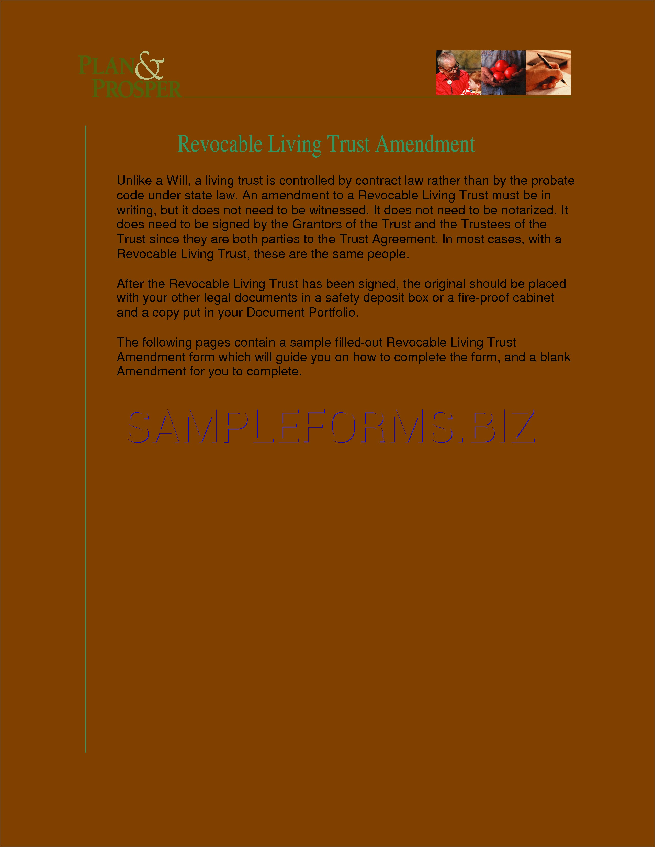 Trust Amendment Form Pdf