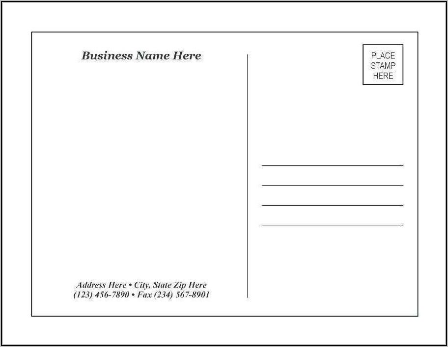 Two Sided Postcard Template Word