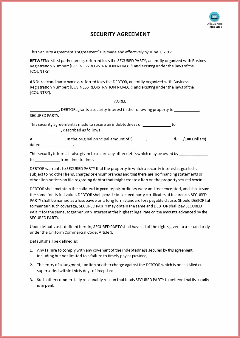 Ucc Security Agreement Template