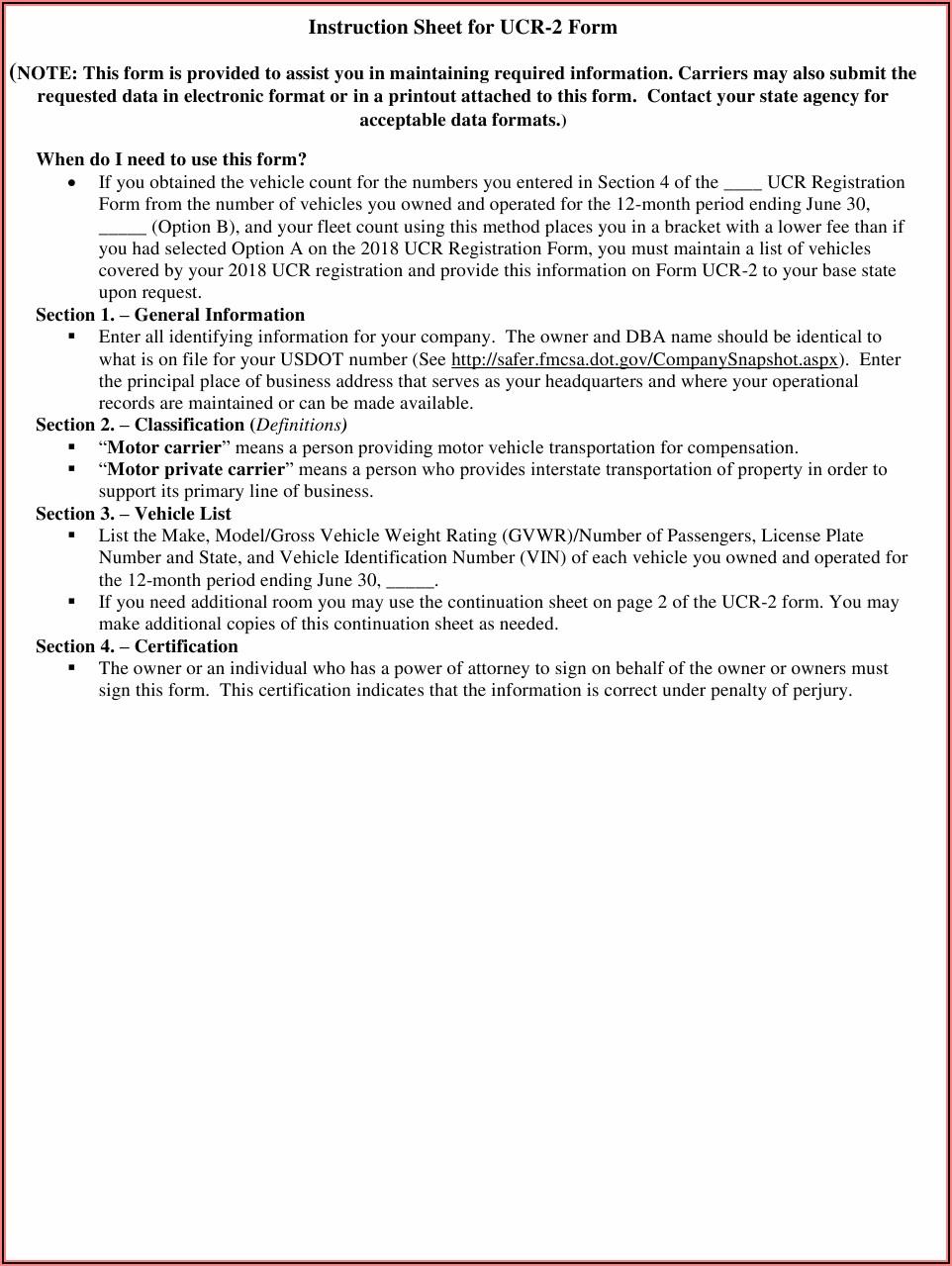 Unified Carrier Registration Form Ucr 2