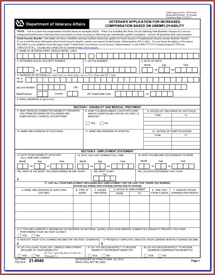 Va Disability Claim Form 21 526ez