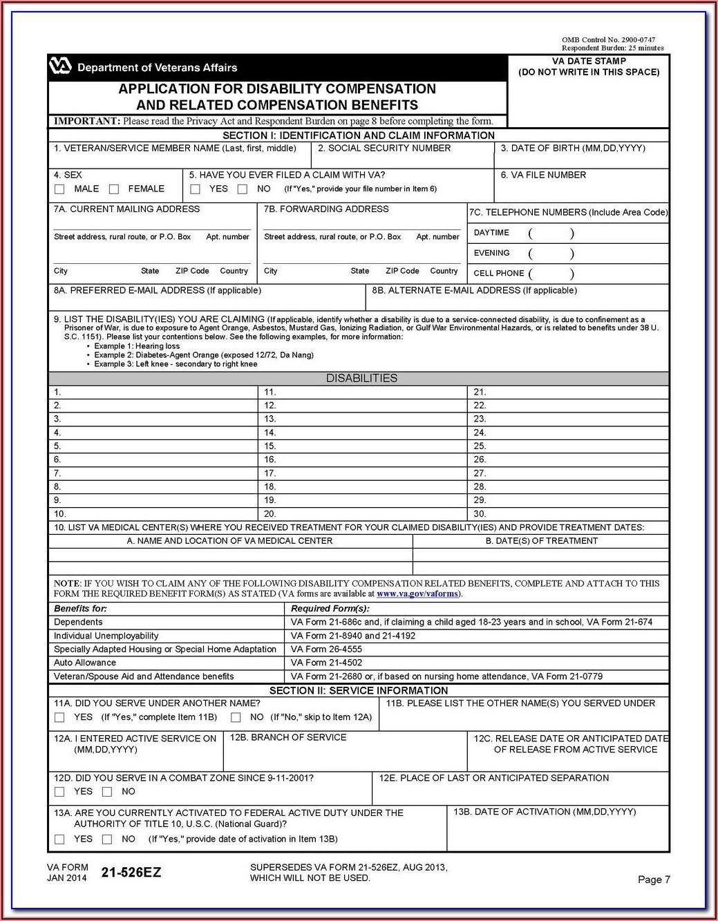 Va Disability Claim Form 29 4125