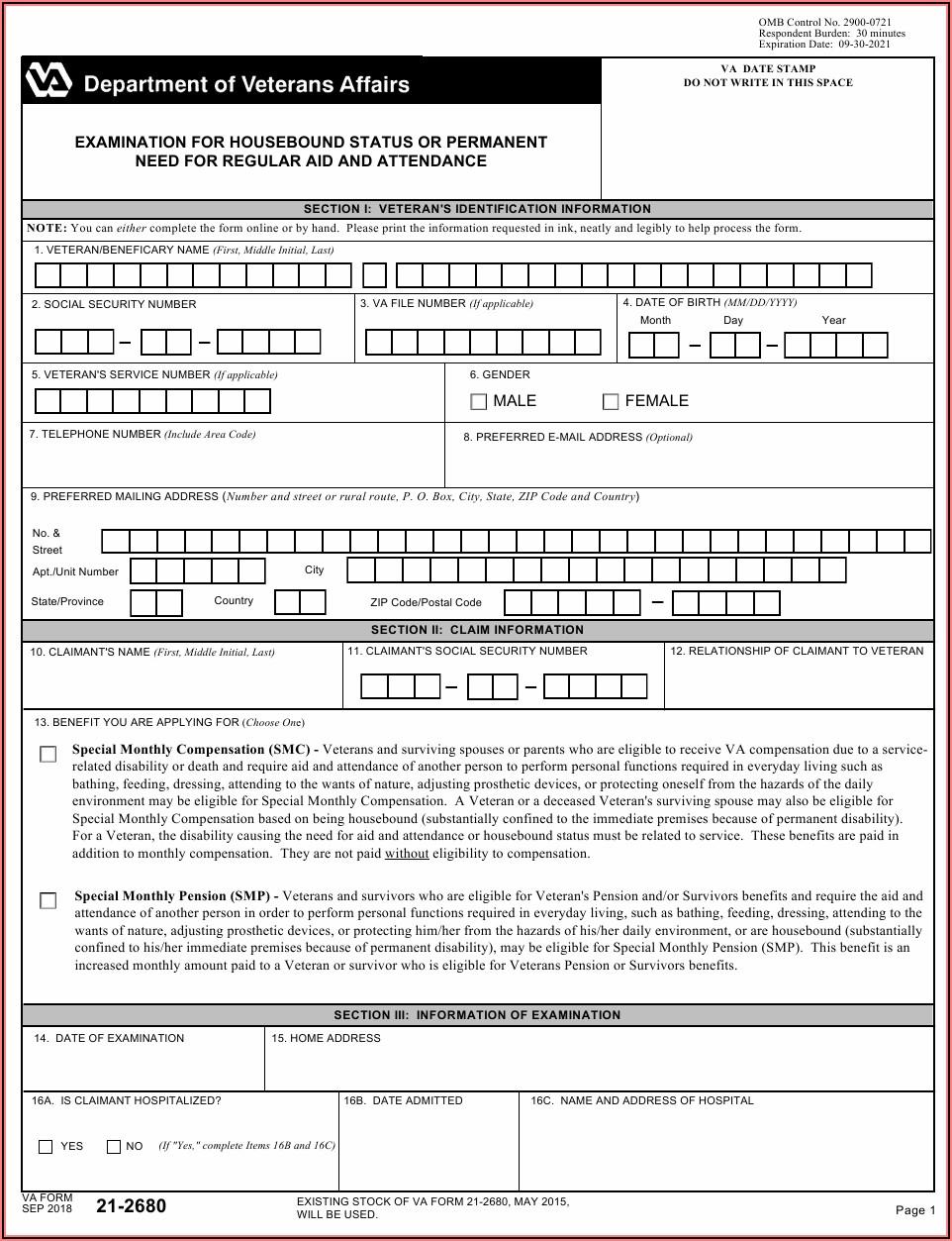 Va Form 21 2680 Download