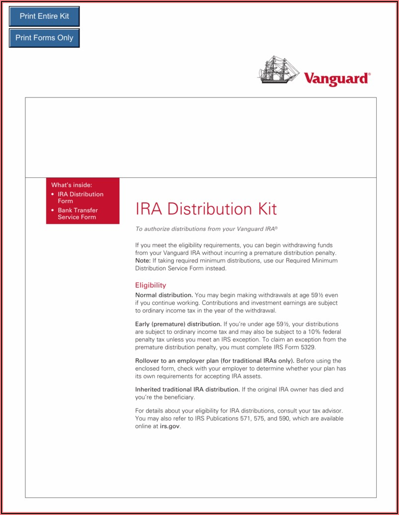 Vanguard Ira Distribution Forms