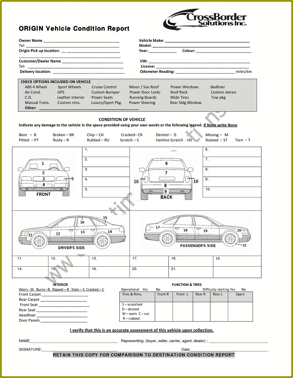 Vehicle Inspection Report Template Free