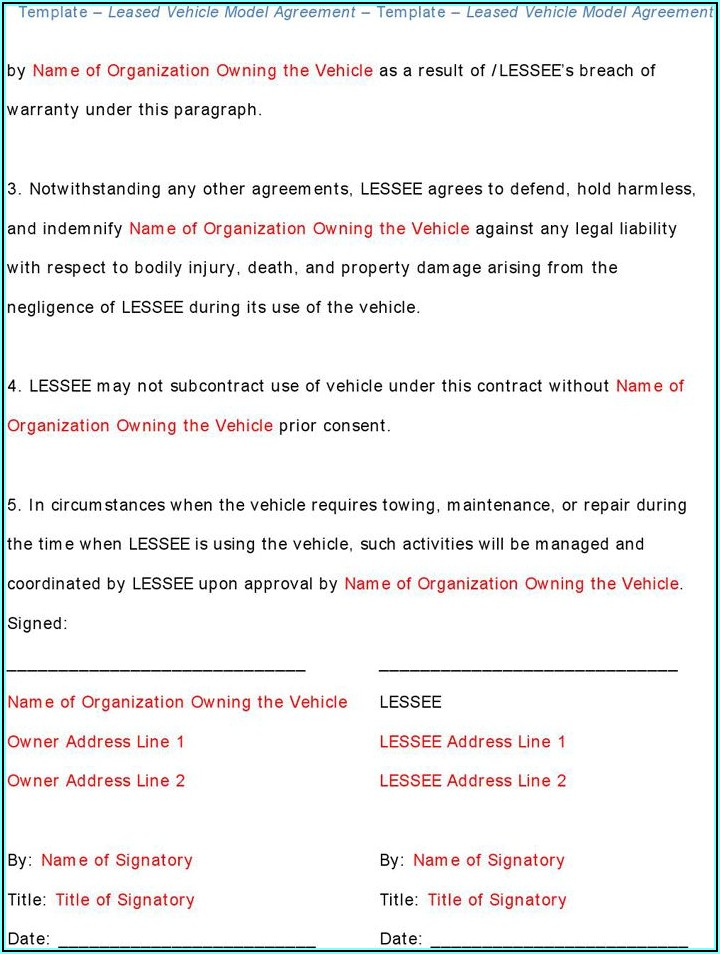 Vehicle Lease Agreement Free Download