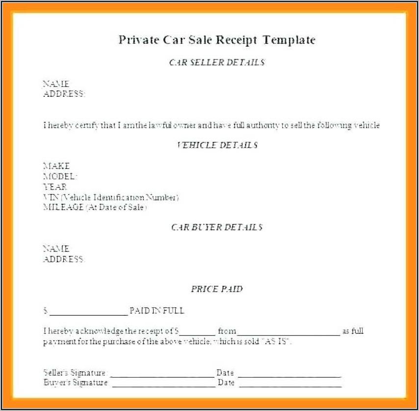 Vehicle Sale Receipt Template Nsw