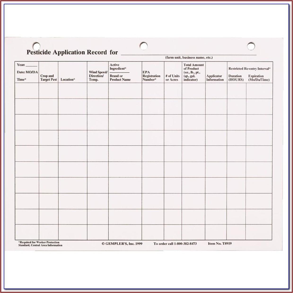 Virginia Pesticide Record Keeping Form