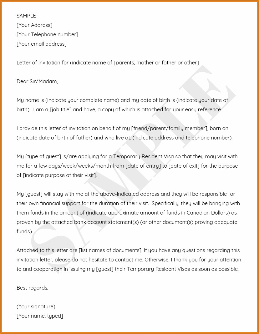 Visa Invitation Letter Example