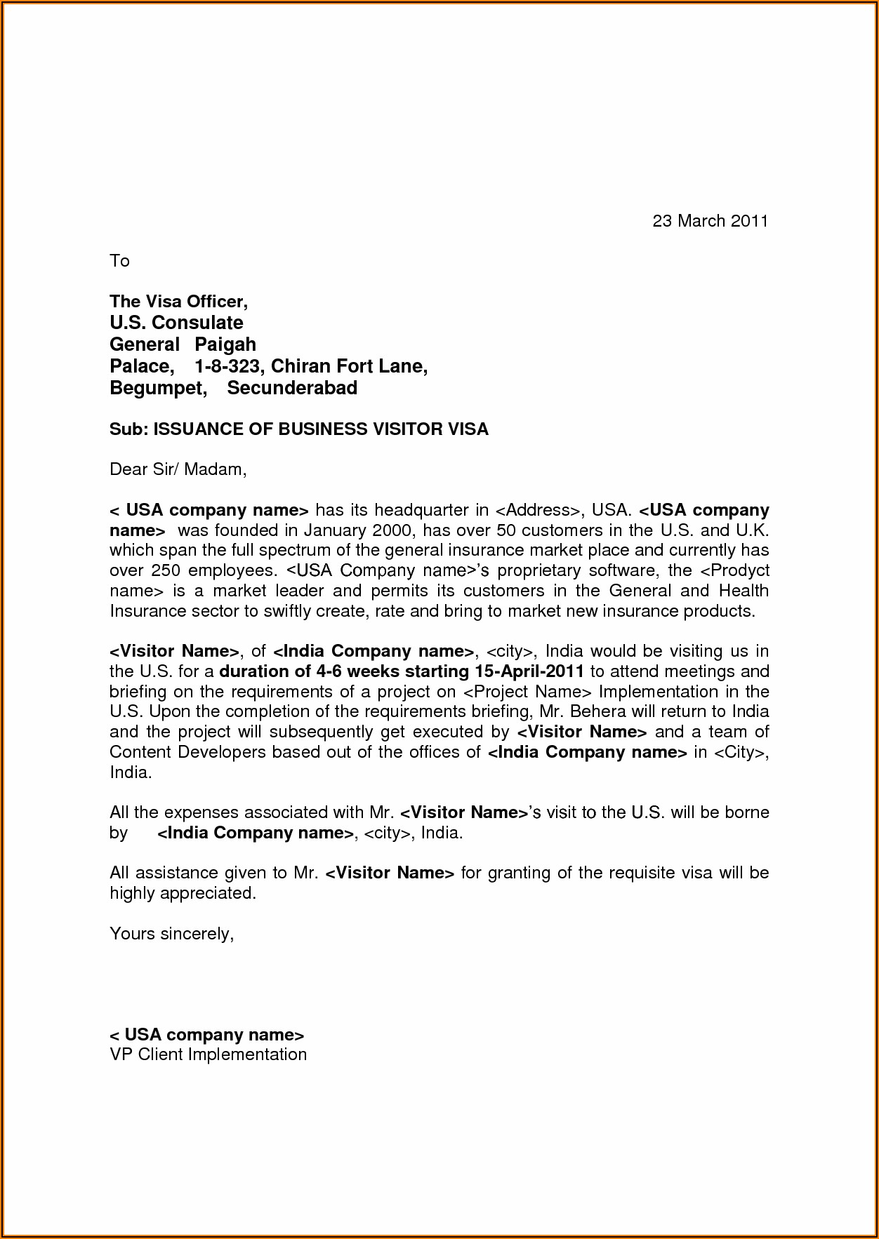 Visa Invitation Letter Sample