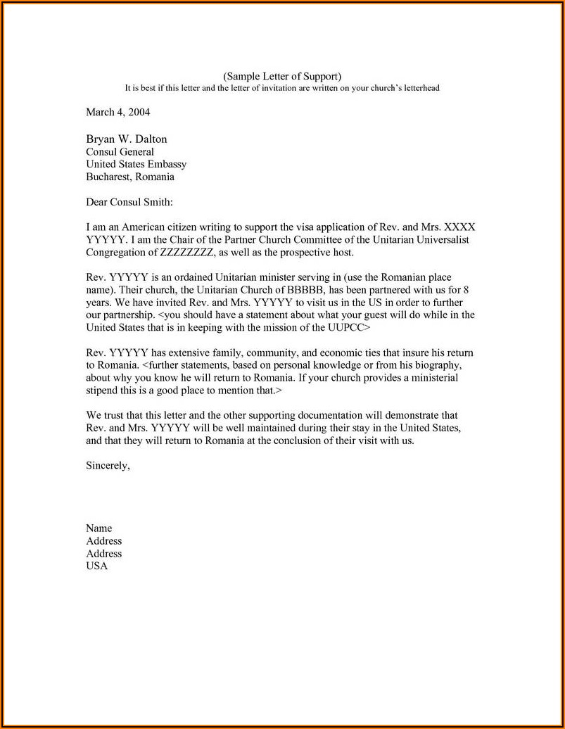 Visa Invitation Letter Usa