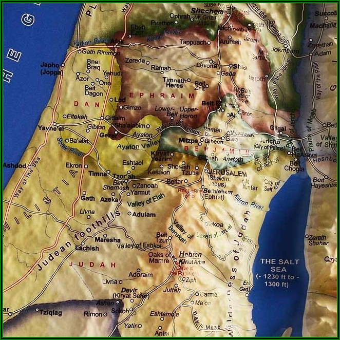 Wall Map Of Israel