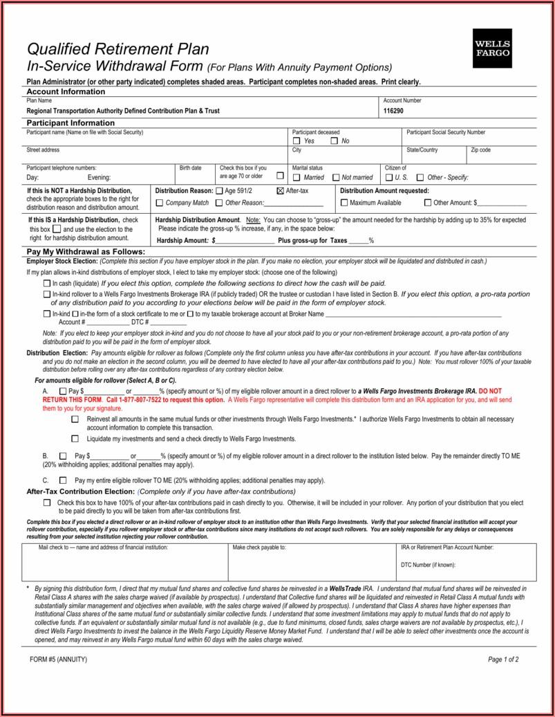 Wells Fargo Ira Distribution Forms