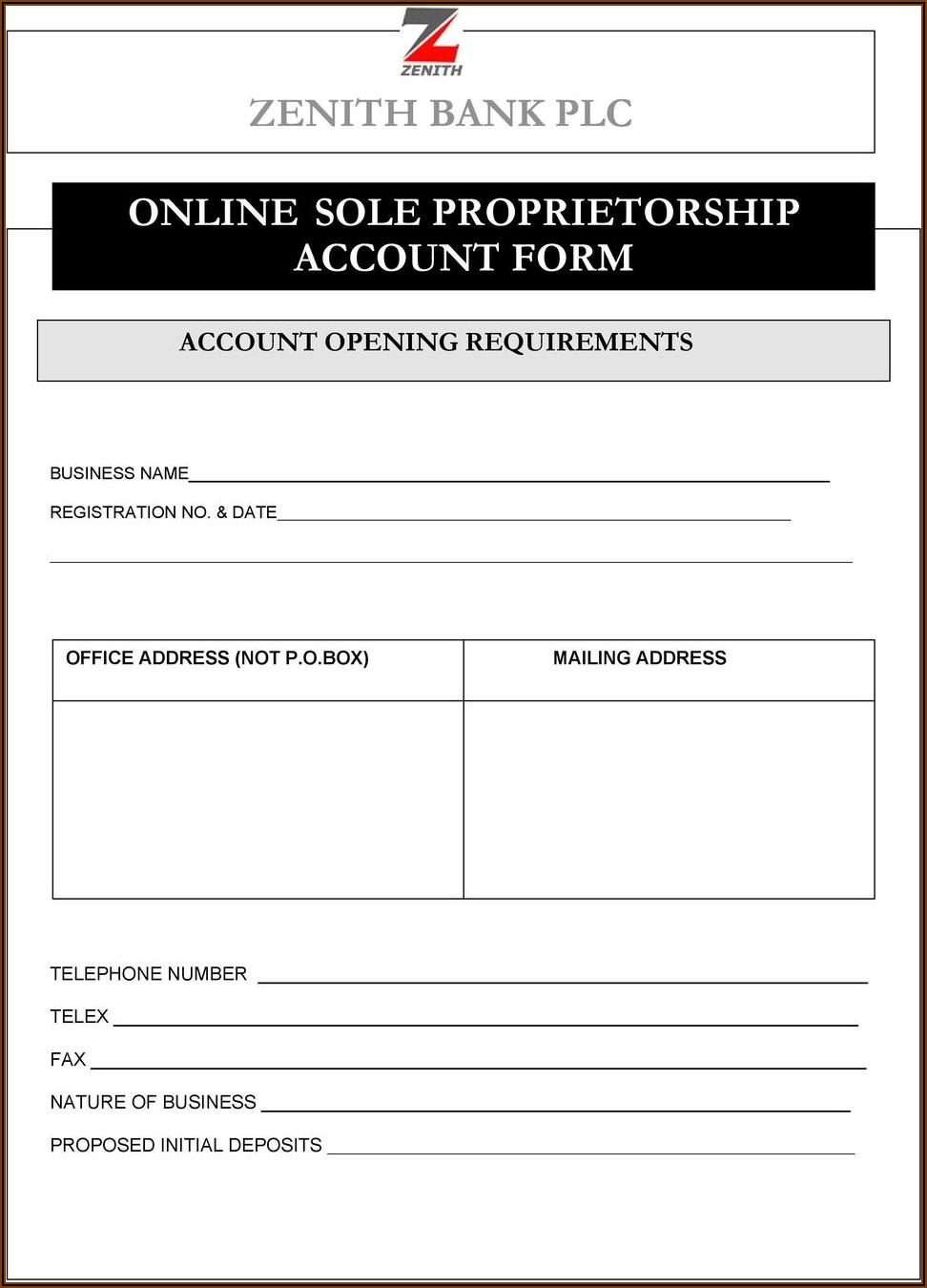 Zenith Bank Online Account Opening Form