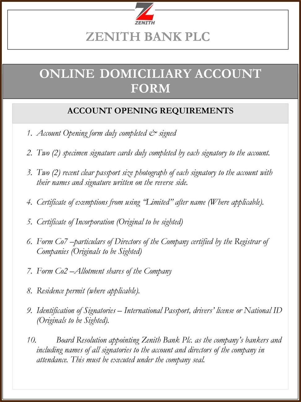 Zenith Bank Savings Account Opening Form Pdf