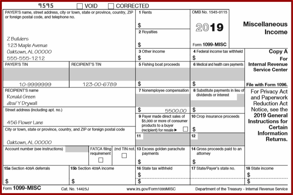 1099 Misc Form 2020 Template