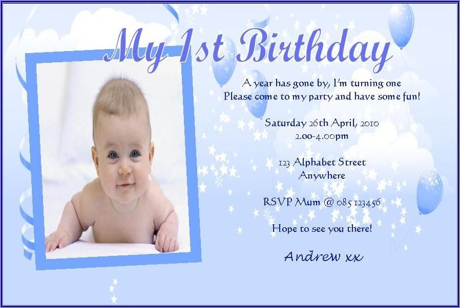 1st Birthday Invitation Message Samples