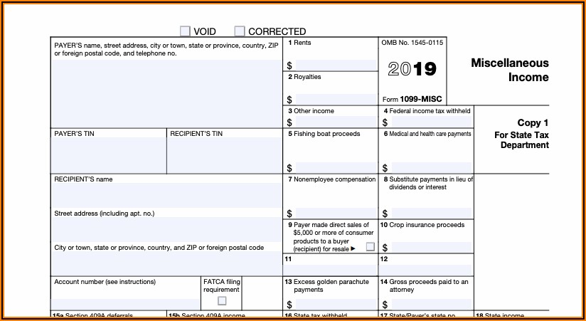 2019 Federal Form 1099 Misc