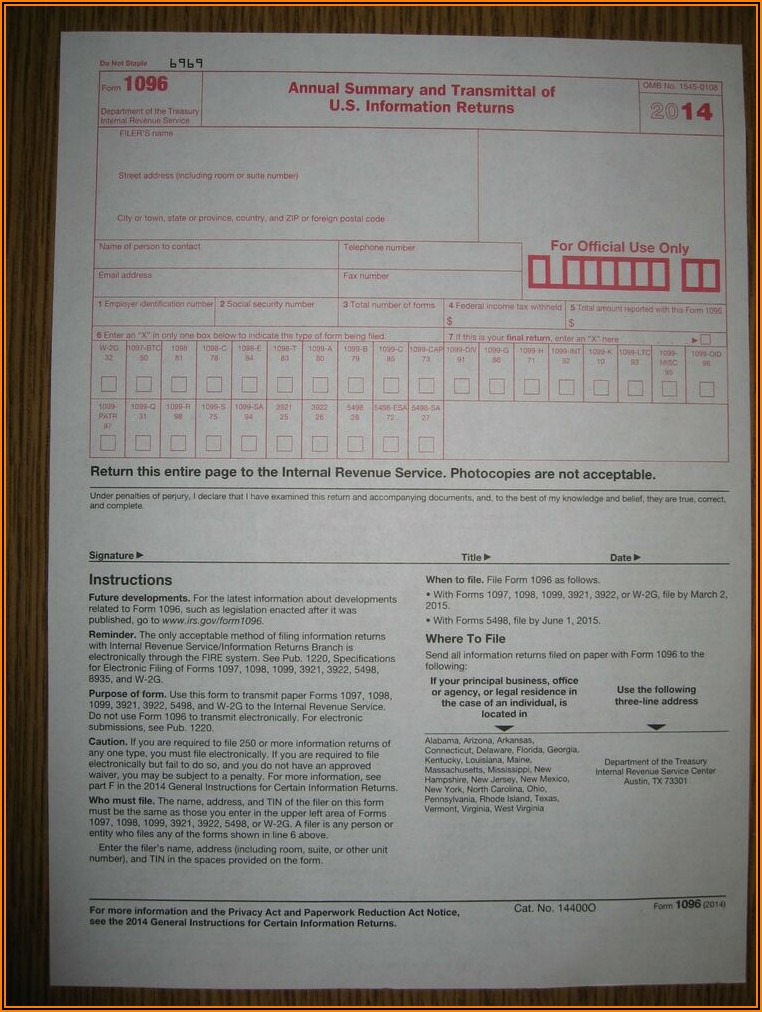 2019 Form 1099 And 1096