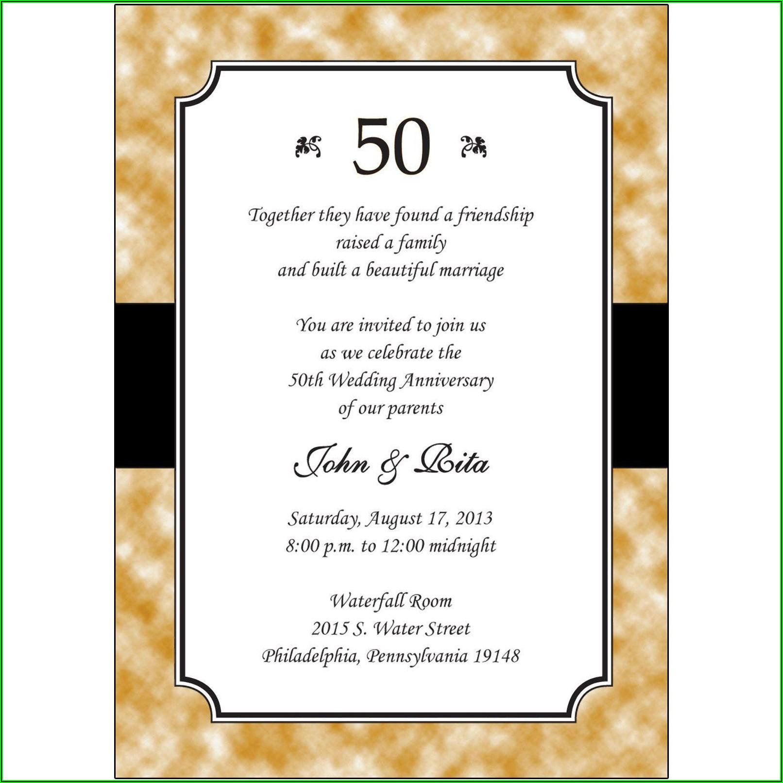 50th Anniversary Invitation Templates Free Download