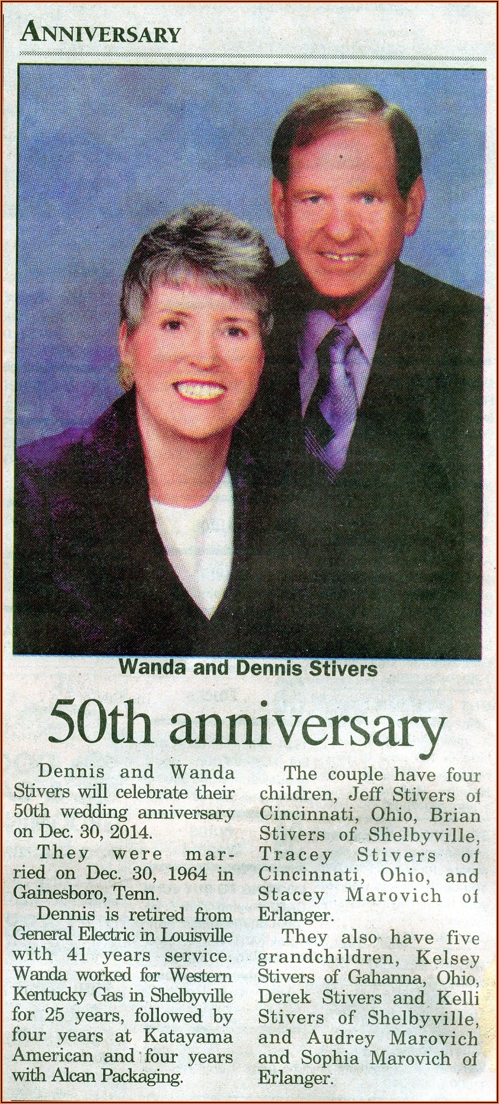 50th Wedding Anniversary Announcement Wording For Newspaper