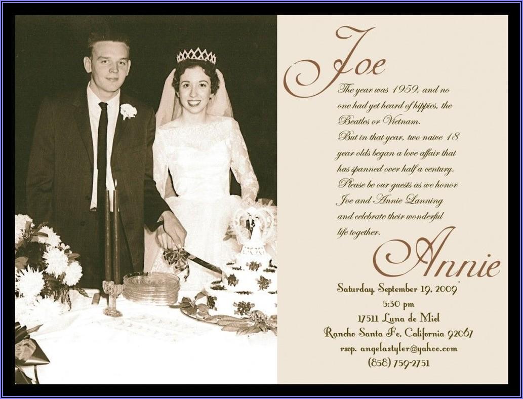 60th Wedding Anniversary Invitation Wording Samples