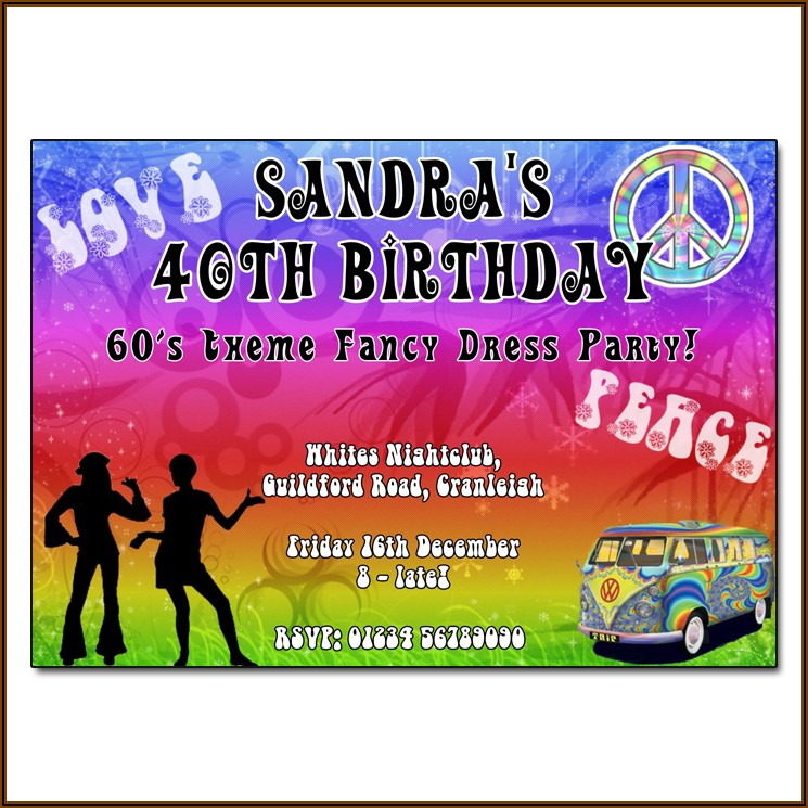 70's Theme Party Invitations Templates