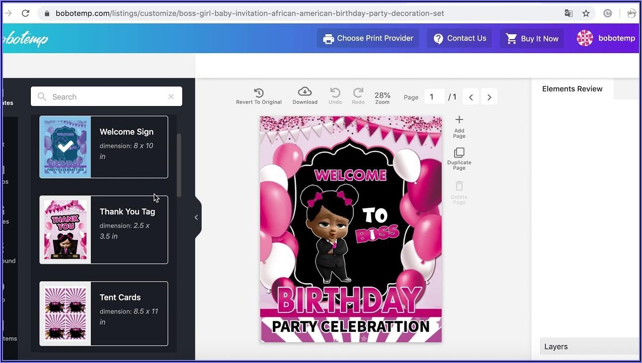 African American Boss Baby Birthday Invitations