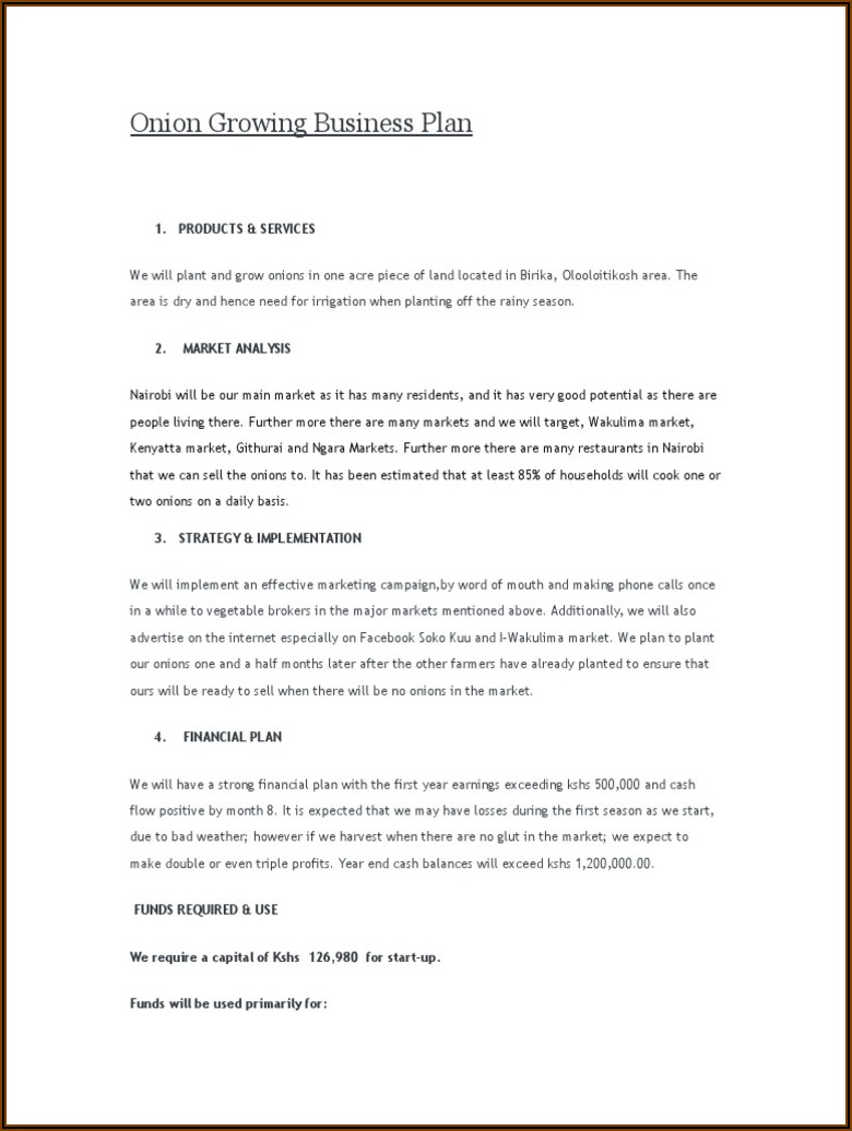 Agriculture Business Plan Examples Pdf