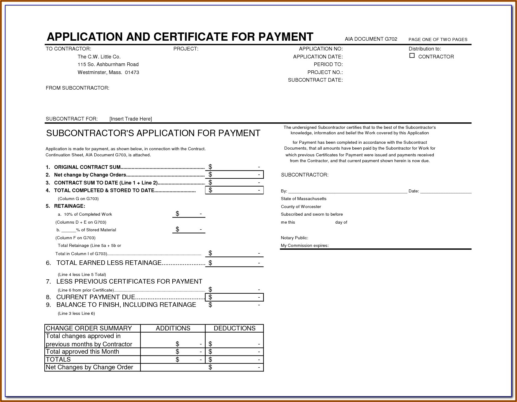 Aia Document G702 Fillable Form Free