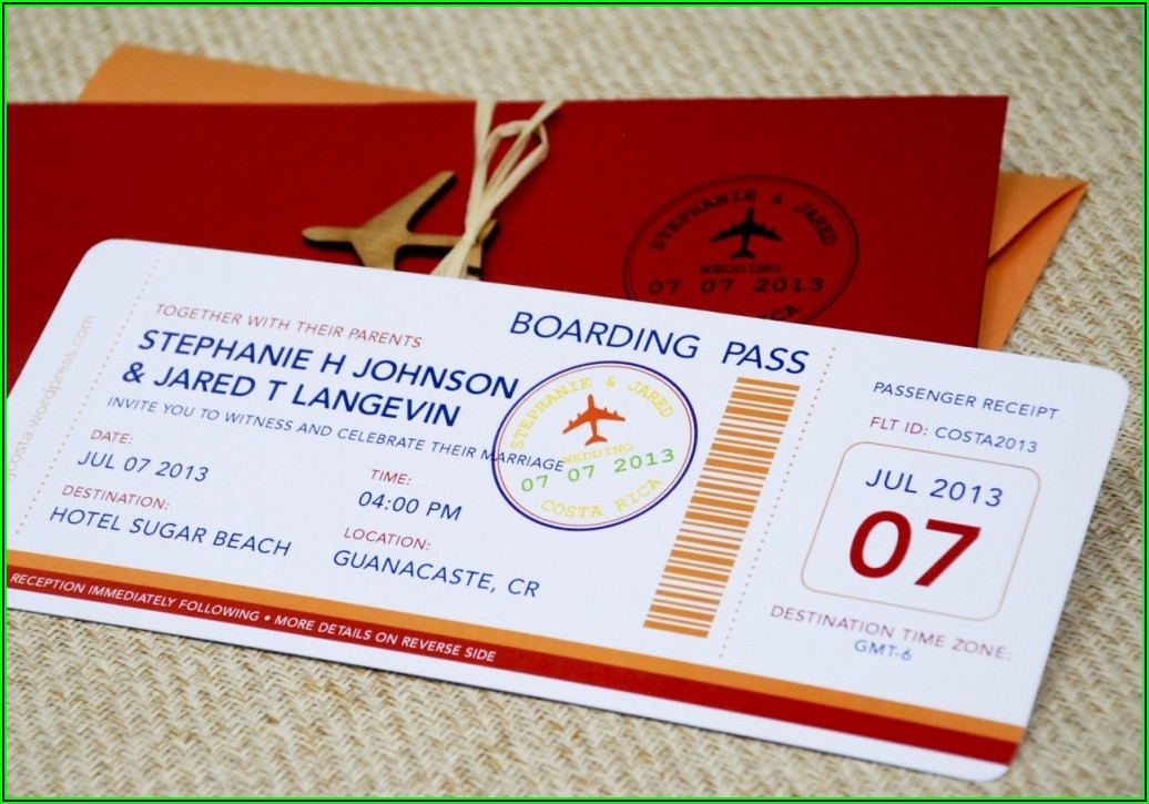 Airline Ticket Invitations Template