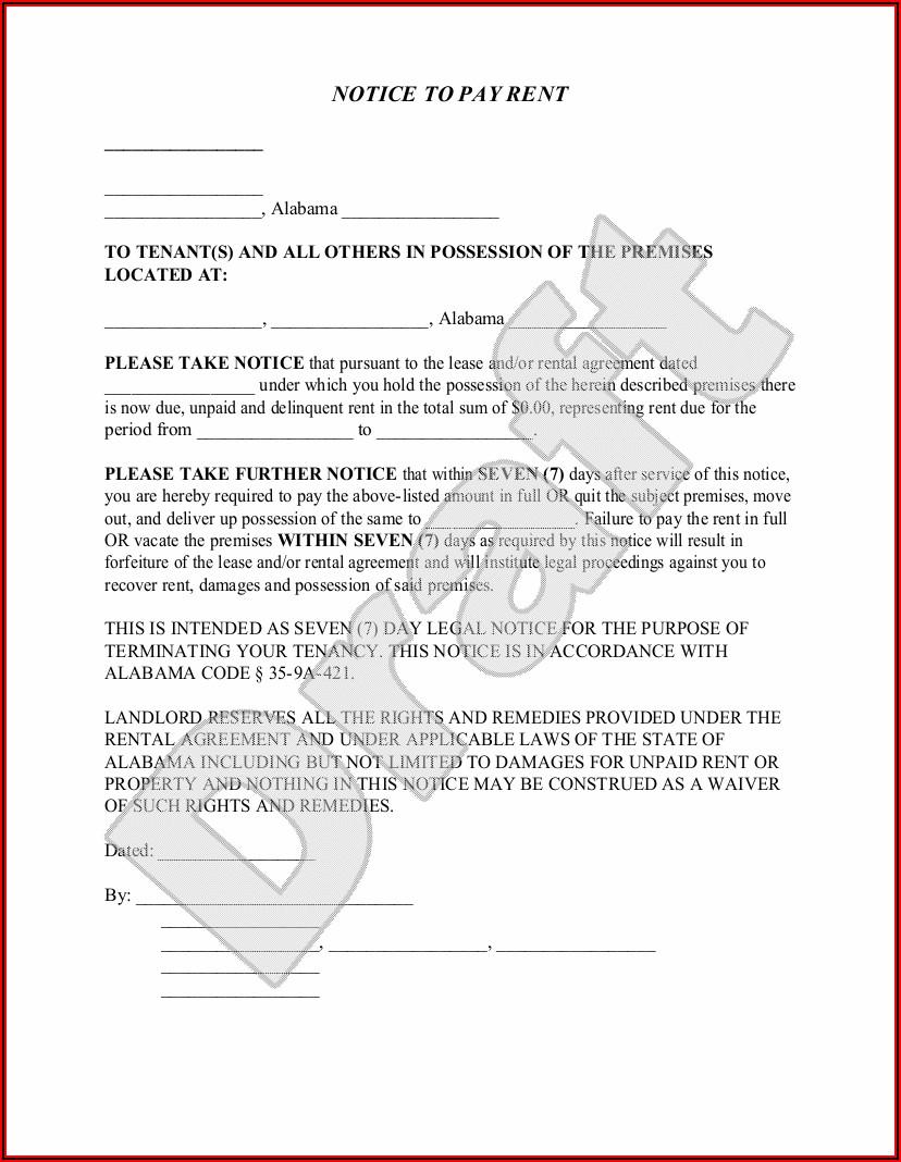 Alabama Eviction Notice Form