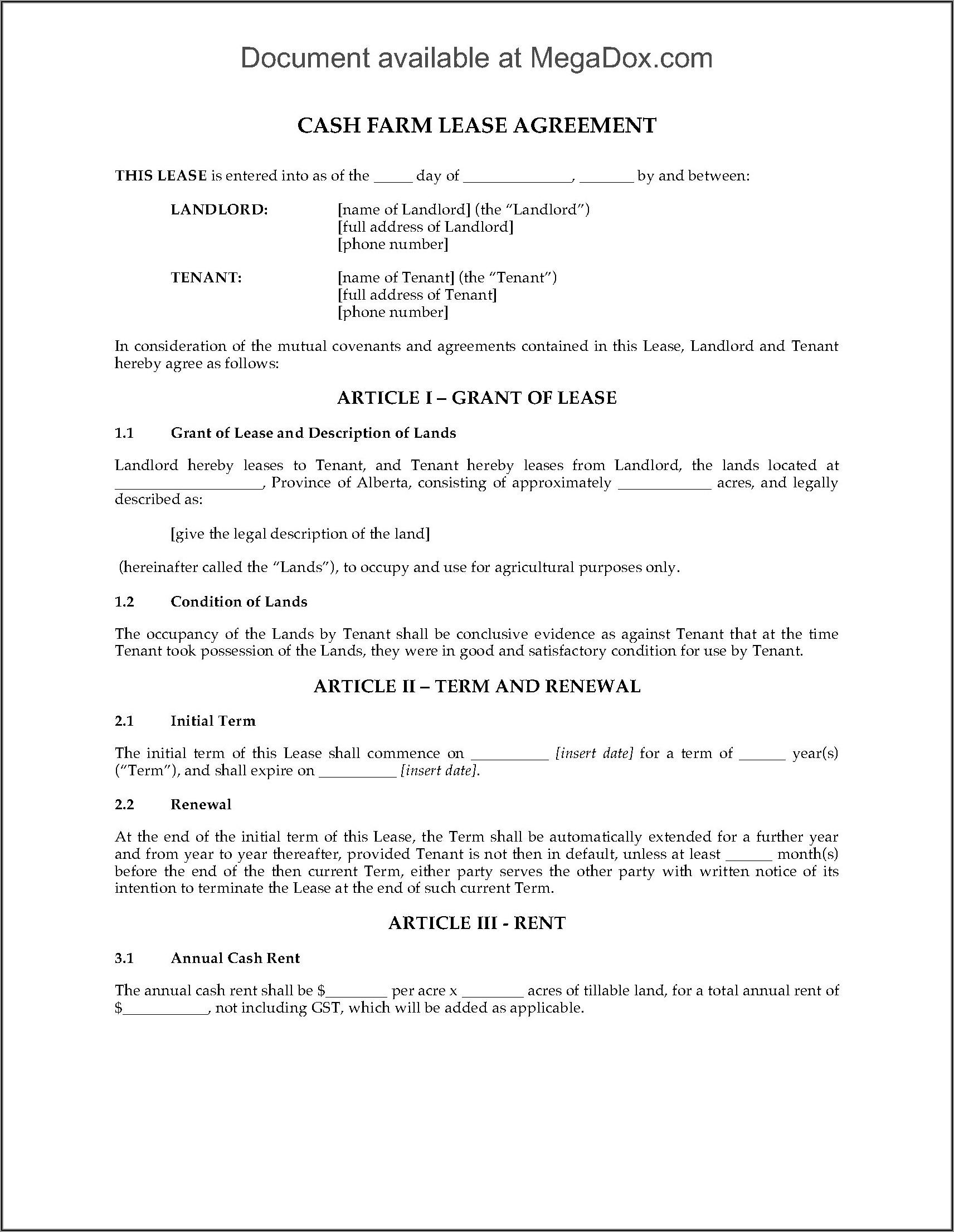 Alberta Rental Agreement Forms