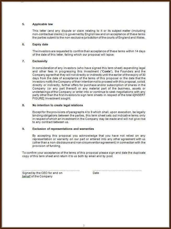 Angel Investment Term Sheet Template