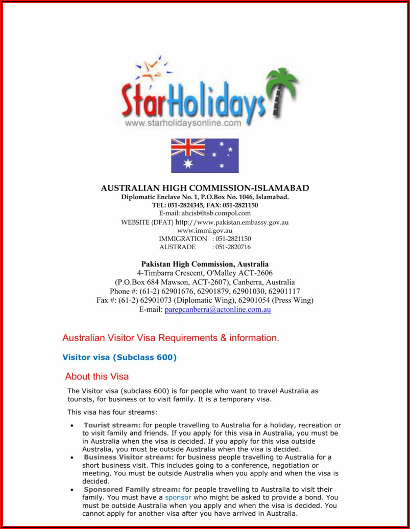 Australia Visitor Visa Application Form 1418