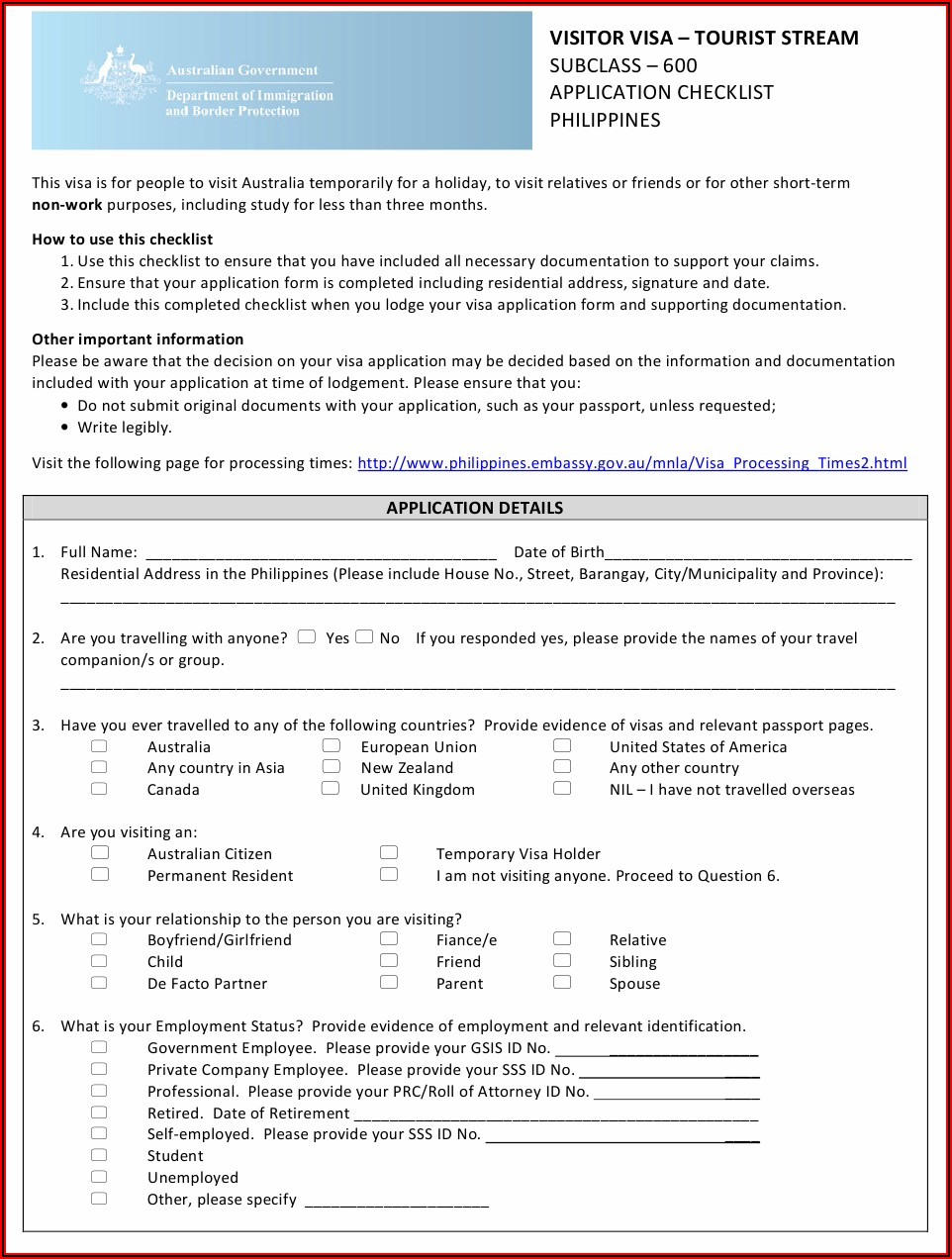 Australia Visitor Visa Application Form