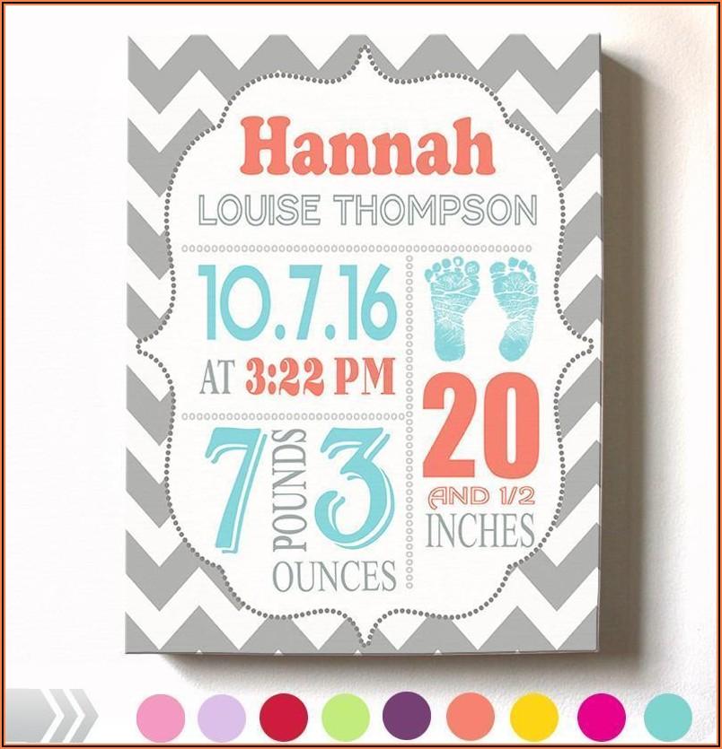 Baby Birth Announcement Canvas