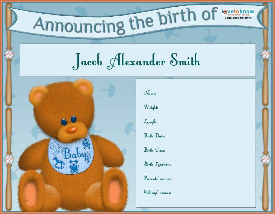 Baby Boy Birth Announcement Sample