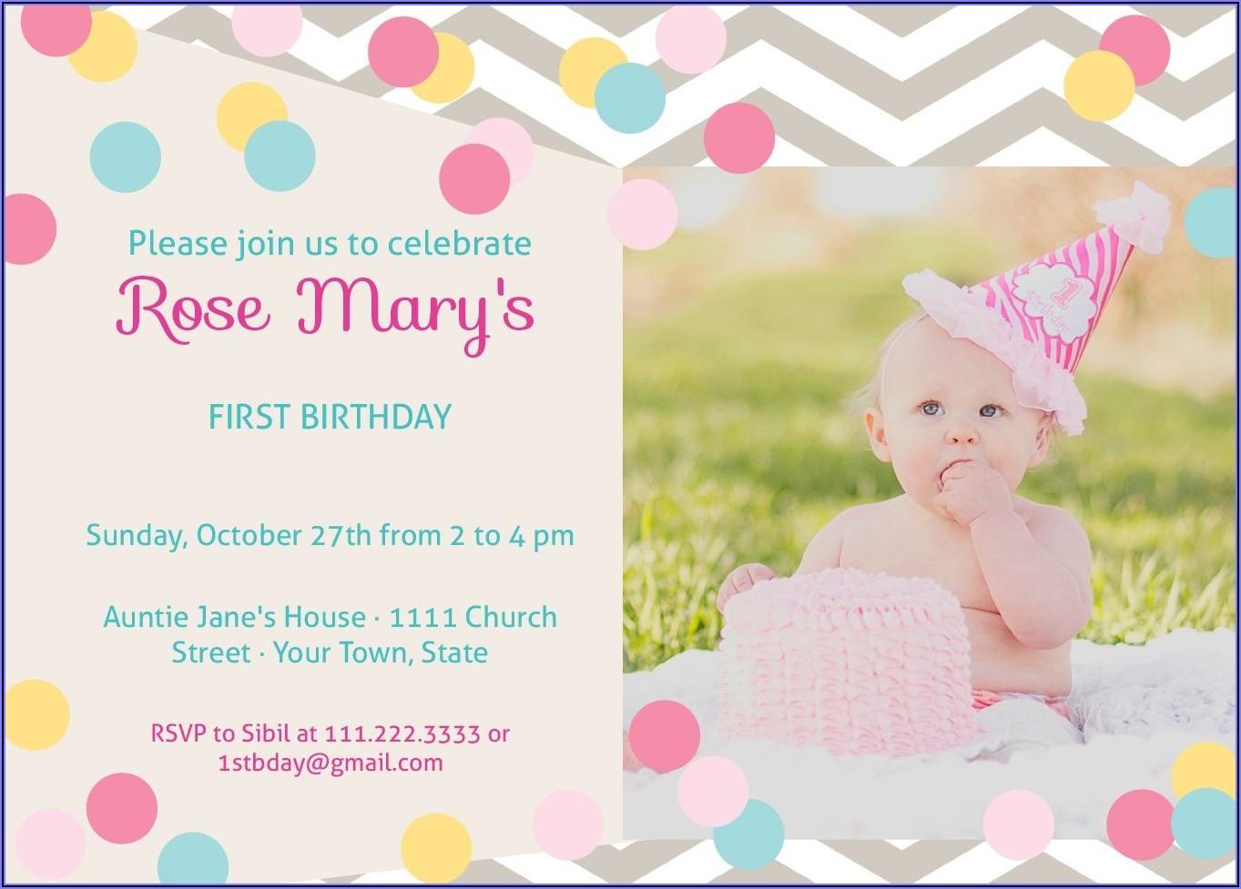 Baby First Birthday Invitation Card