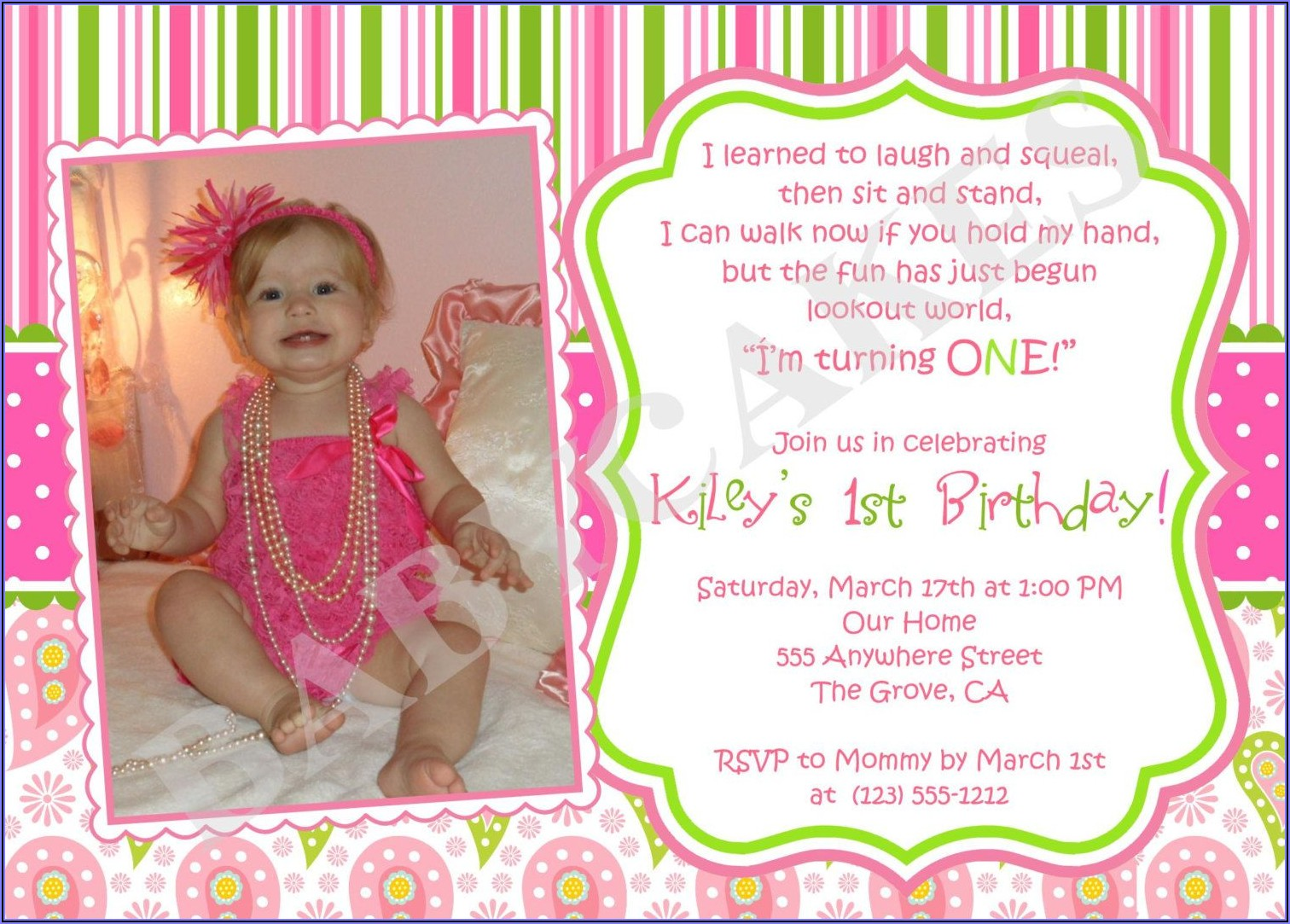 Baby First Birthday Party Invitation Wording