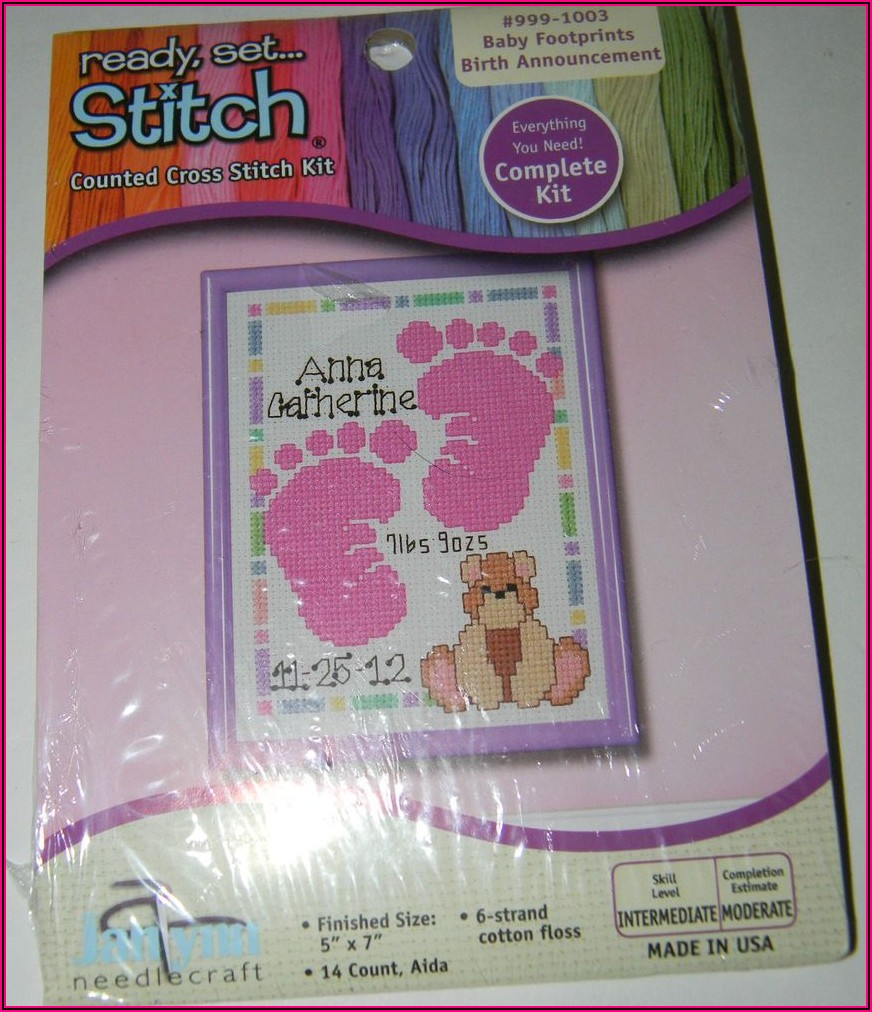 Baby Footprints Birth Announcement Cross Stitch Kit