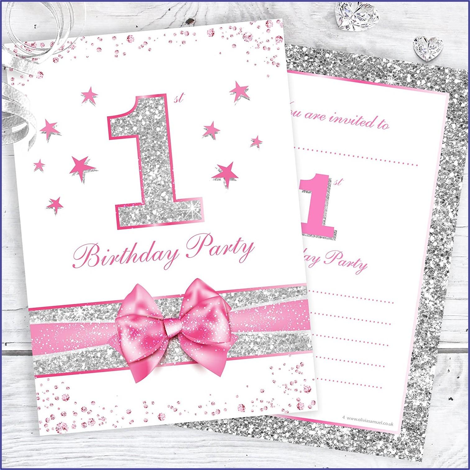 Baby Girl Birthday Party Invitations