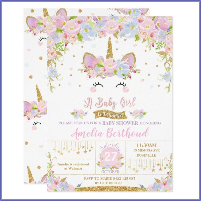 Baby Girl Unicorn Birthday Invitations