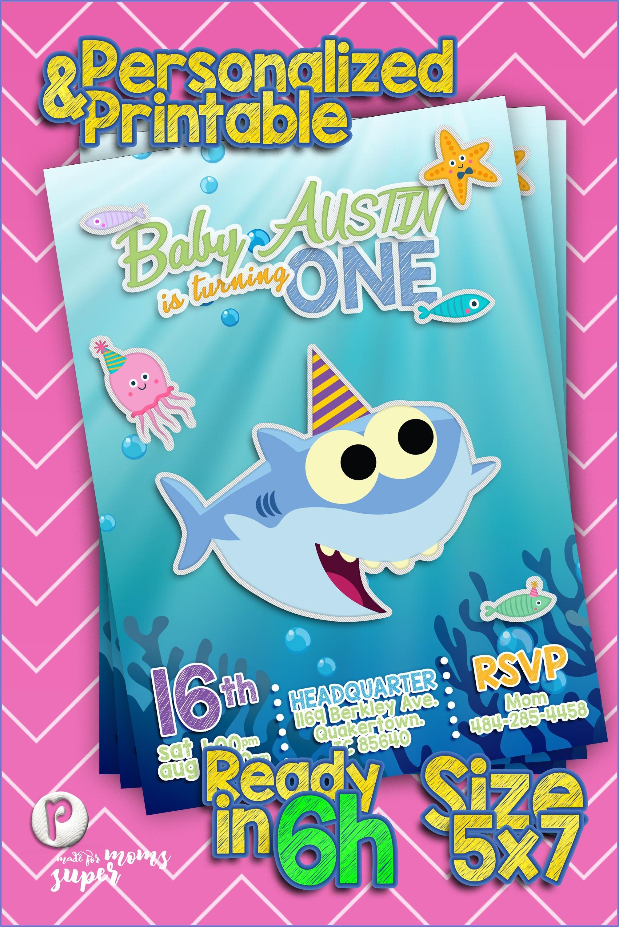 Baby Shark 1st Birthday Party Invitations