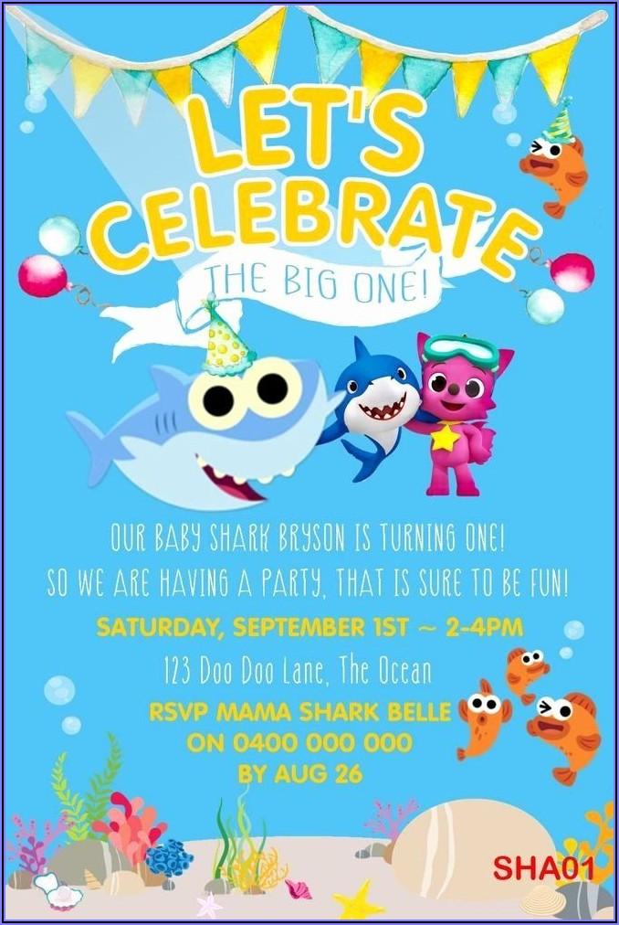 Baby Shark Birthday Invitations Free